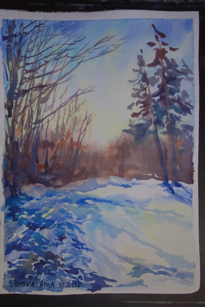 "Anna Serova ""Winter"", Aquarell , 40x60cm"